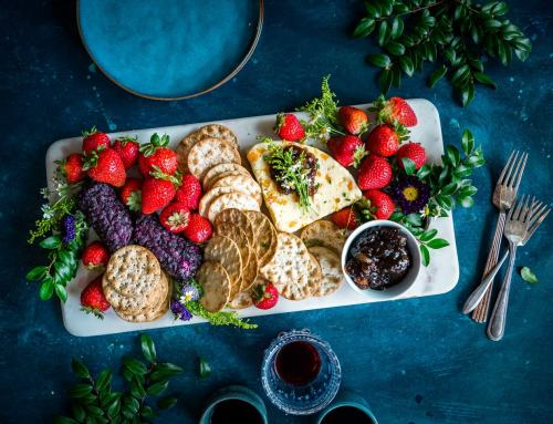Summer Cheese Platter with Berries, Crackers and Wine